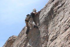 Rock Climbing Photo: Noelle moving thru the crux of Sam I Am (5.10a).