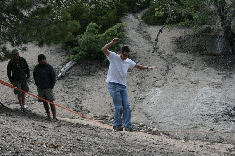 Rock Climbing Photo: Chad slack lining before dinner