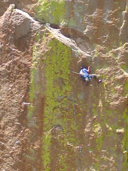 Rock Climbing Photo: Unknown climber on Tradewinds, 5.11.  A fun, well ...