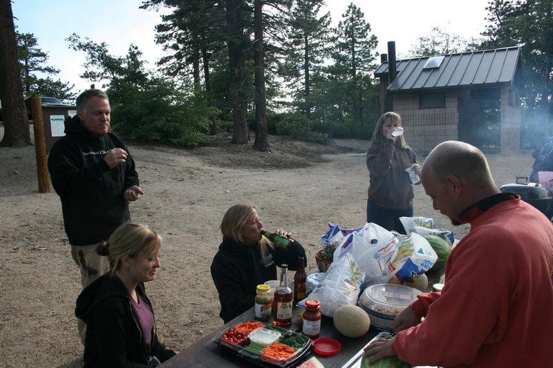 Rock Climbing Photo: Group dinner prep.