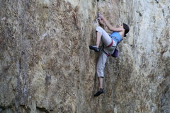Rock Climbing Photo: Chick Posse member Liz negotiating the bottom of M...