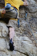 Rock Climbing Photo: Moving into key footholds.