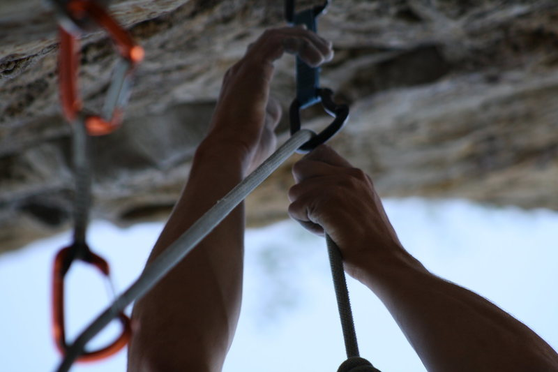 Rock Climbing Photo: Trying the crux, again...  (crux underclings seen ...