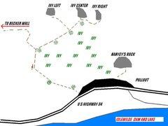 Rock Climbing Photo: Approach map for Becker, Ivy League Rocks, and Nan...