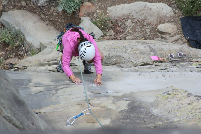 Amparo Chaney of Ventura entering the crux of Exilis Dihedral