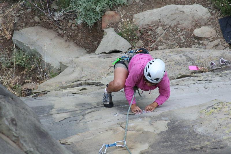 Rock Climbing Photo: Amparo Chaney of Ventura in the crux of Exilis Dih...