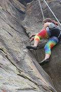 Rock Climbing Photo: Gloria G. of LA exiting the dihedral of Exilis Dih...