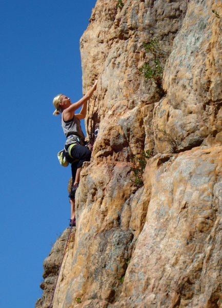 Rock Climbing Photo: Climber on Horn Piece