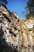 Rock Climbing Photo: A climber high on Medusa, 5.10a