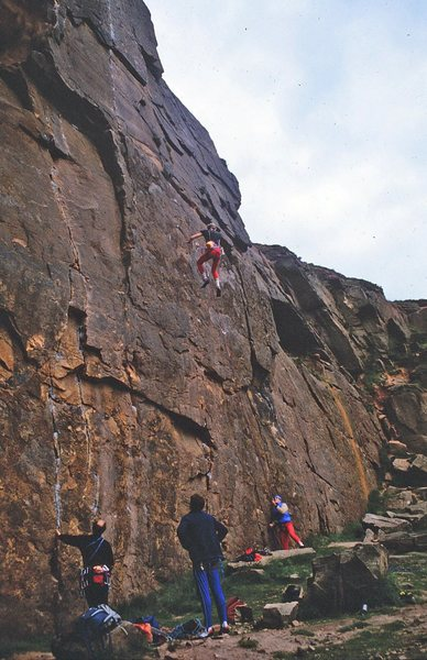 Rock Climbing Photo: Taking a fall on Wall Street Crash, 5.13a.   The g...