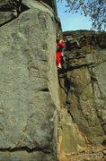 Rock Climbing Photo: Simon nearing the midway ledge on Oedipus! Ring Yo...