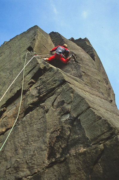 Rock Climbing Photo: Simon searching for the crucial rock placement on ...