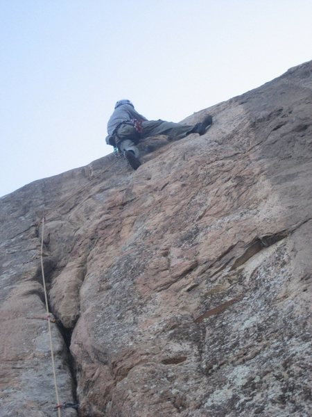Aaron styling with the heel hook at the traverse, during the onsight.