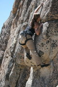 Rock Climbing Photo: Noelle Ladd working the crux.