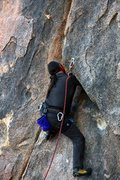 Rock Climbing Photo: Pulling the Crux move up into the chimney of the S...