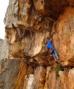 Rock Climbing Photo: Josh linking Scorpion corner and Kamasutra