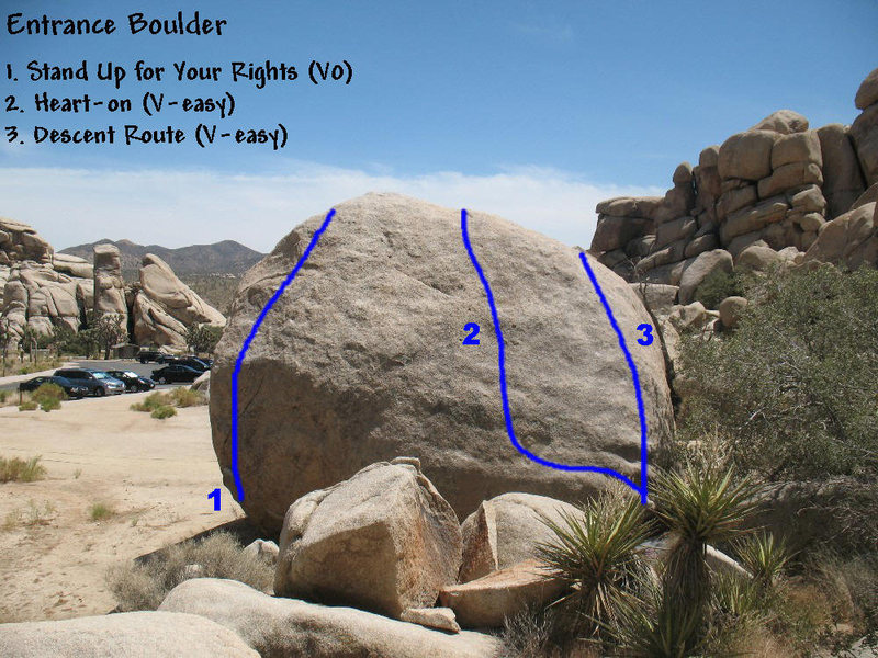 Photo/topo for the backside of the Entrance Boulder, Joshua Tree NP. <br>