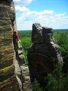 "Rock Climbing Photo: Henning scopes the ""Little Rebel Crack"" ..."