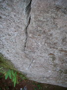 Rock Climbing Photo: Looking down the fine finger crack of Eso No Se Ha...