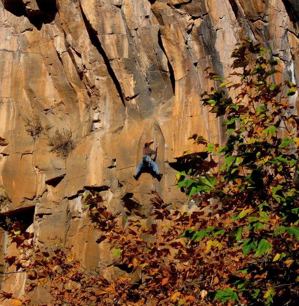 Rock Climbing Photo: Dan Foster at the vertical crux.