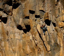 Rock Climbing Photo: Danny dealing with the taxes section of the route....
