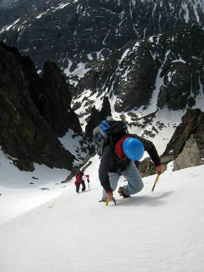 Near the top of Flour Power Couloir.  This is the steepest snow of the route - possibly exceeding 60 degrees.