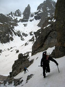 Rock Climbing Photo: The very beginning of the couloir.  The Sharkstoot...