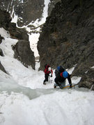 Rock Climbing Photo: Tackling the water ice step about 1/3 of the way u...