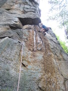 Rock Climbing Photo: Mike starting up Directissima, just past the p.1 5...