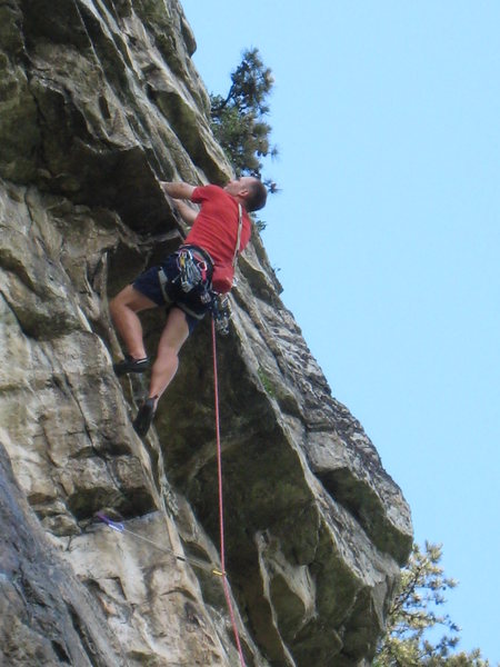 The second roof crux of MF, which is part of the standard p. 2, but the pitches are very easy to link.