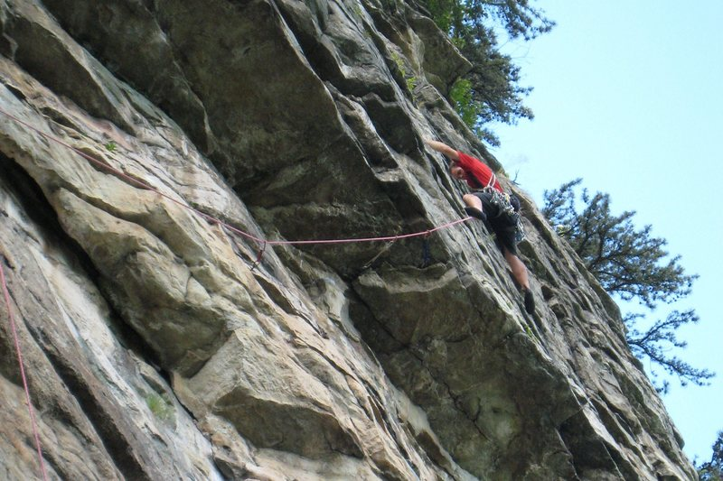 A few moves past the roof crux on Birdie Party.