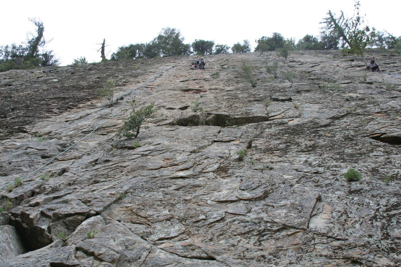Rob Chaney and Tim Lister at The first belay as seen from the ground