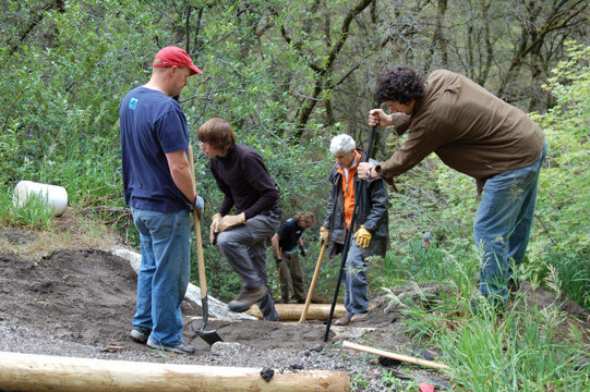 Working on the Syringe Access Trail.