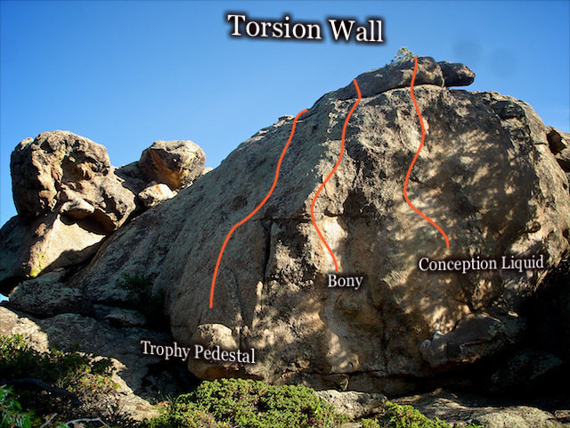 "The ""Torsion Wall"" located on top of the main rock formation of the ""Tortuga Area."""