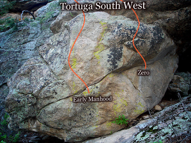 """A photo of the """"Early Manhood"""" block located on the South/West side of """"Tortuga's"""" main rock formation."""