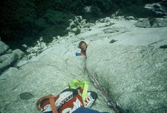Rock Climbing Photo: Dave emerging from the roof on Crown Of Creation i...