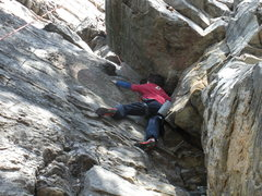 Rock Climbing Photo: Patrick Hines starting the moves past the overhang...