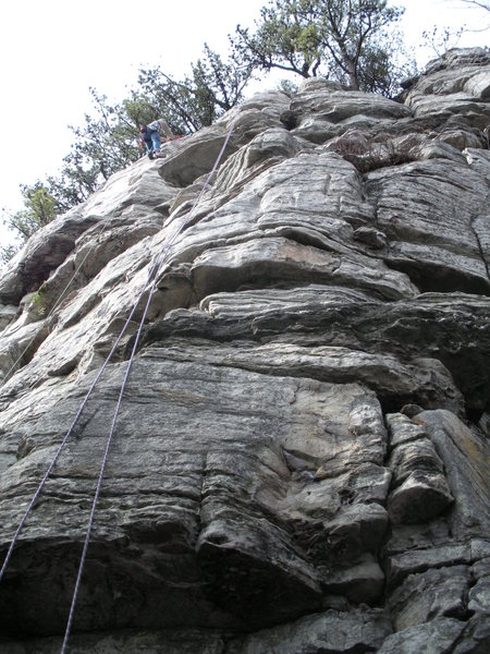 """Unknown"" route.  The climber to the left in the picture is on ""Pee Break""."