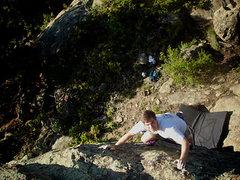 "Rock Climbing Photo: John Morgan on the F.A. of ""Trophy Pedestal.&..."
