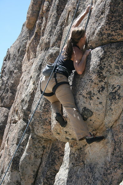 Noelle on the crux of Children Should Not Use Power Tools 5.10b