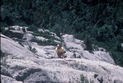 Rock Climbing Photo: Topping out on Waterfall Dome's Pilz Grind in 1983