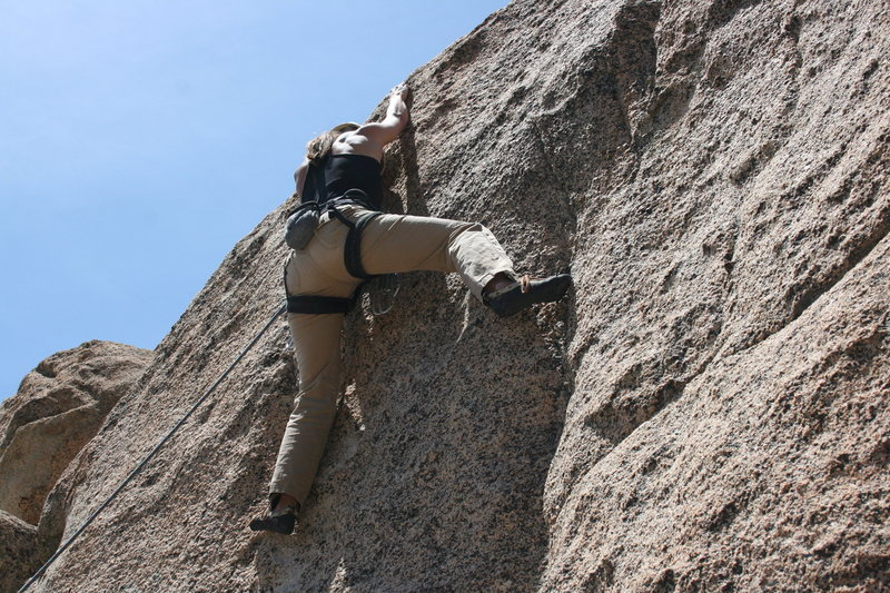 Noelle on the crux of an unknown 5.10...