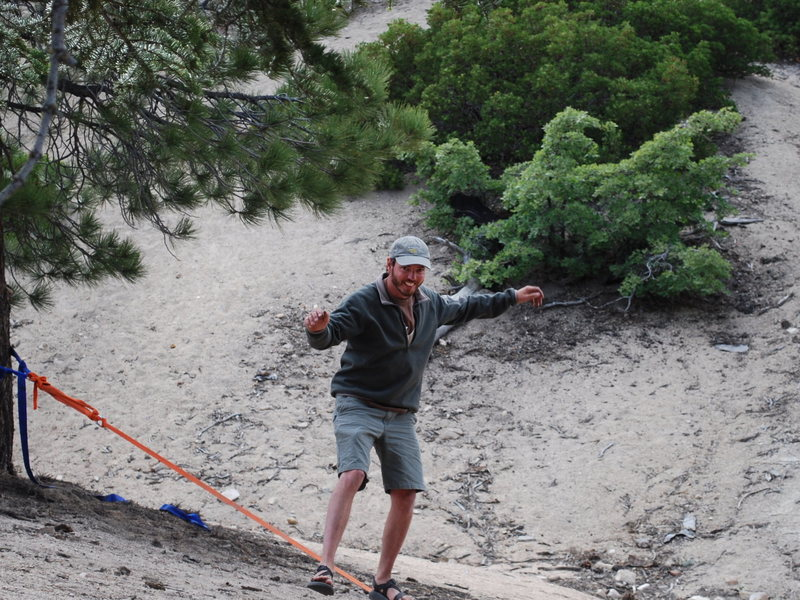 Rock Climbing Photo: Nathan slack-lining before dinner...feeling better...