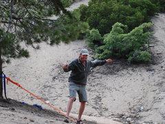 Rock Climbing Photo: Nathan slack-lining before dinner...feeling better...
