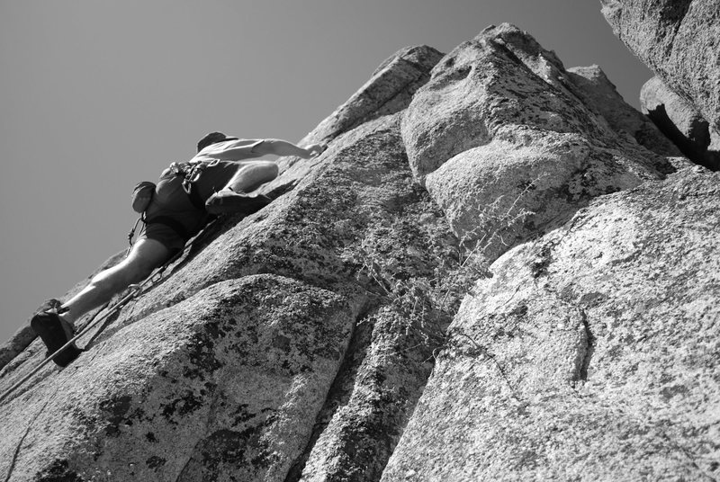 Past the crux of Children Should Not Use Powertools 5.10b.<br> Photo by Agina