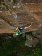 Rock Climbing Photo: Ben walking through the crux moves and so close to...