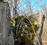 Rock Climbing Photo: Chris Hirsch on the FA