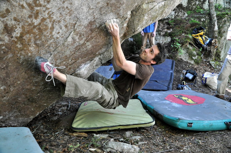 Rock Climbing Photo: first move, heel hook thin crimp, start on hold be...