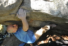 Rock Climbing Photo: Jim Merli, one move in