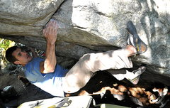 Rock Climbing Photo: Kris toe hooking the arete to try to move further